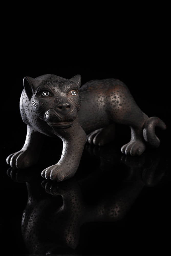 Mexican Black Clay Jaguar from Amatenango del Valle Chiapas.