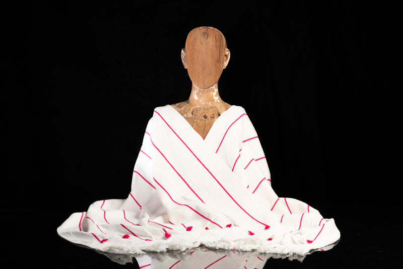 Mexican Cotton Shawl Rebozo White With Red Stripes on Mannequin
