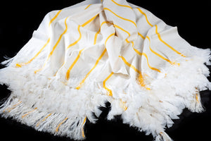 Mexican Cotton Shawl with feathers & Stripes, Throw