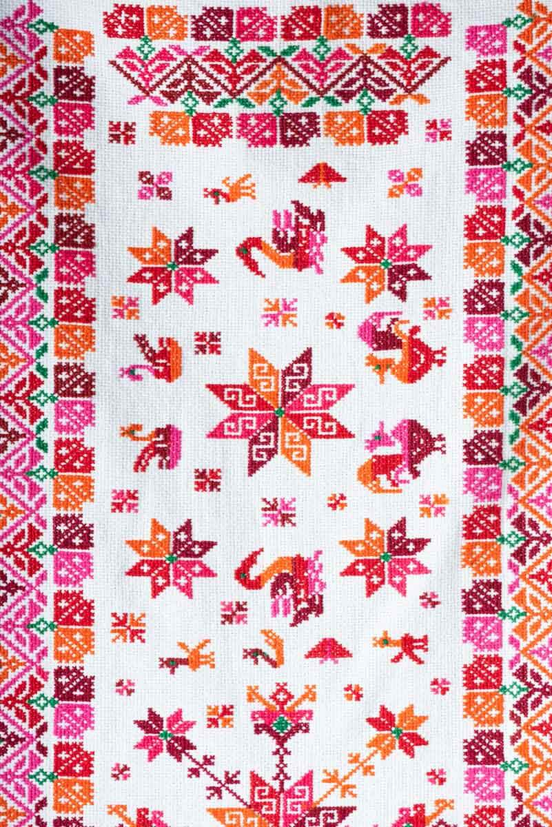 Hand Embroidered Textile by Mexican Indigenous Teenek Pattern