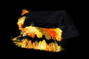Mexican Fringed Shawl Yellow & Black Cape Indigenous Textile Art