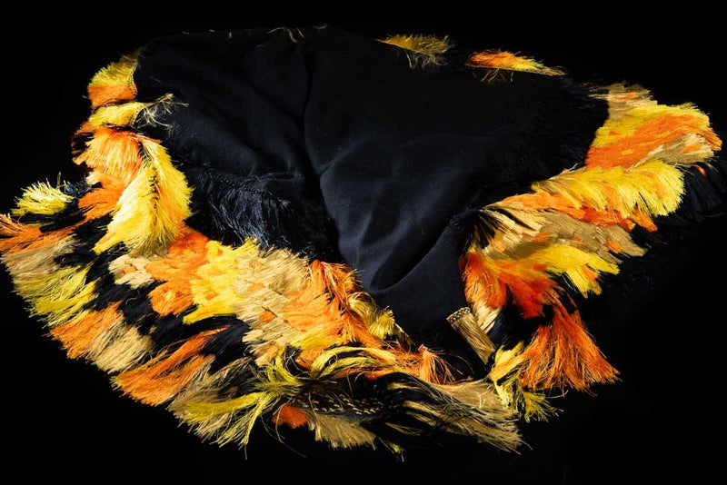Black & Yellow Cape Mexican Indigenous Textile Thrown