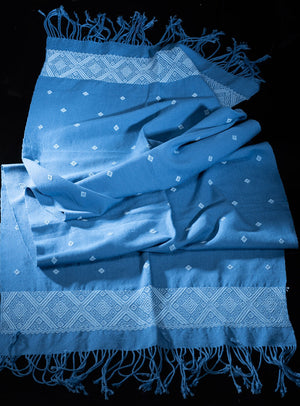 Blue Table Runner Mexican Indigenous Cotton Textile