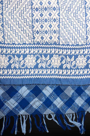 Fine Mexican Textile Blue & White Brocade Cotton & Wool