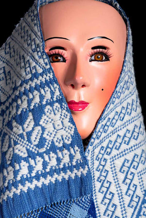 Mask with Fine Mexican Indigenous Textile Brocade Blue & White with Purépecha Patterns
