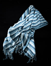 Striped Shawl green mint crafted by indigenous people from Chiapas