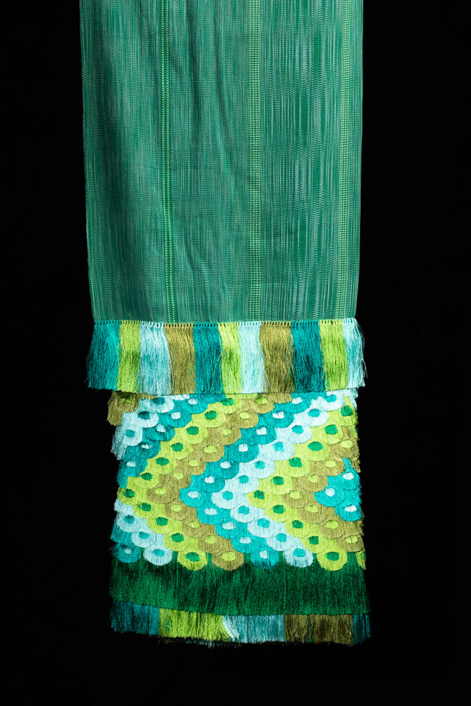Emerald Green Cotton Shawl with hand knotted silky fringe