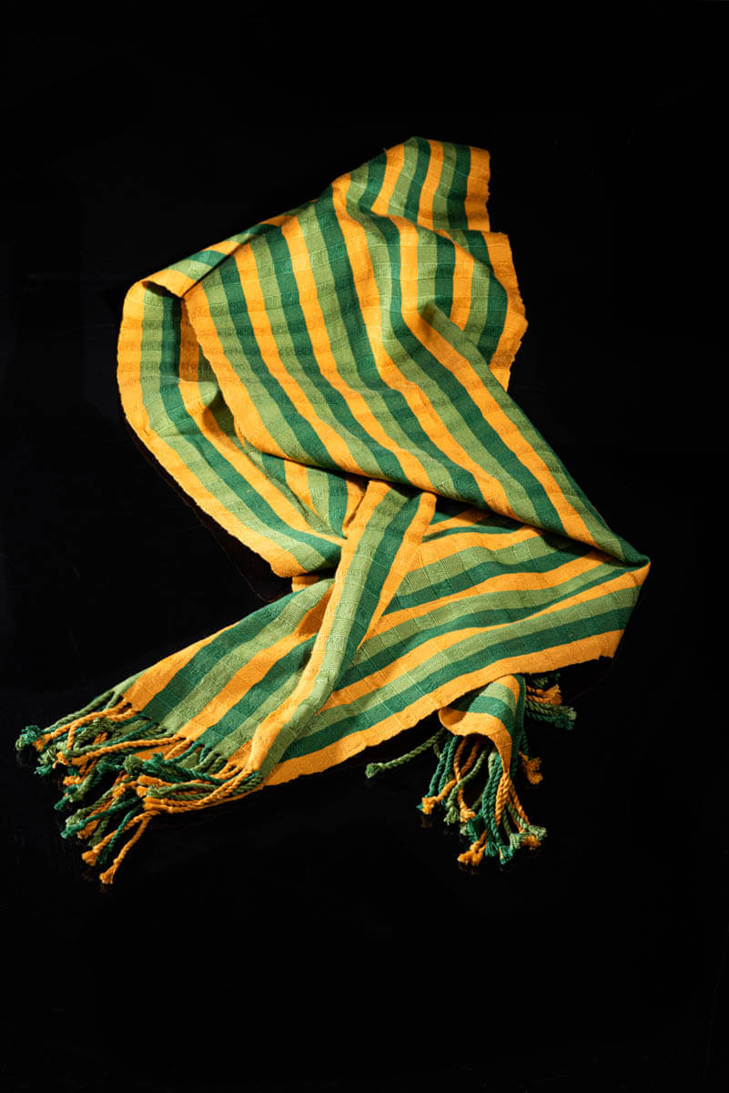 Mexican Striped Shawl green & yellow tones bed throw