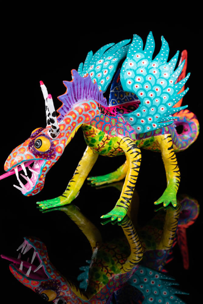 Horizontal Paper Mache Alebrije Dragon Mexican Folk Art Turquoise Wings