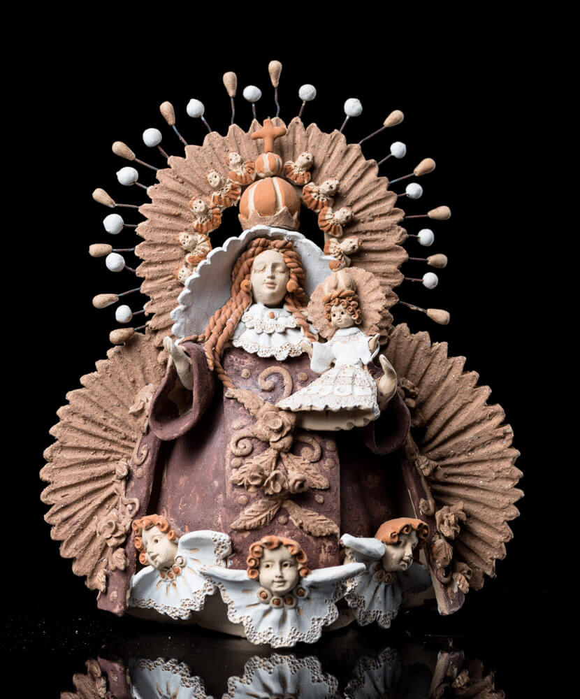 Hand Made Clay Virgin & Jesus Oaxacan Fine Mexican Pastillaje Pottery