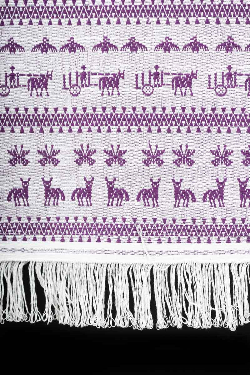Purple Mexican Textile Runner From San Mateo del Mar with Traditional Oaxacan Patterns Fringe