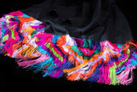 Colorful fringe of black Mexican Cotton Shawl crafted in Ahuiran Michoacan Mexico