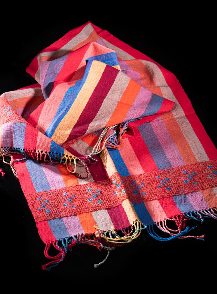 Mexican Striped Shawl with wool on cotton Brocade indigenous pattern