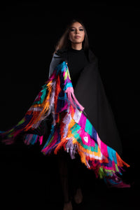 Woman Wearing a Black Shawl with Colorful Fringe Mexican Textile