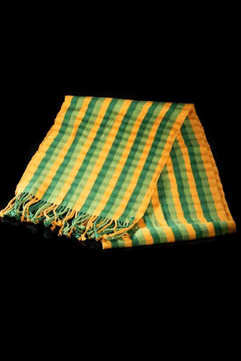 Mexican Striped Shawl green & yellow tones folded