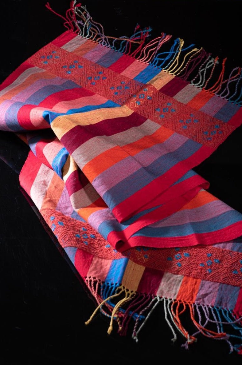 Mexican Striped Shawl with Brocade indigenous pattern