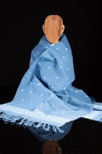 Blue Table Runner Mexican Indigenous Cotton Textile on Mannequin