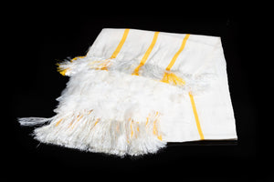 Mexican Cotton Shawl with feathers & Stripes, Folded