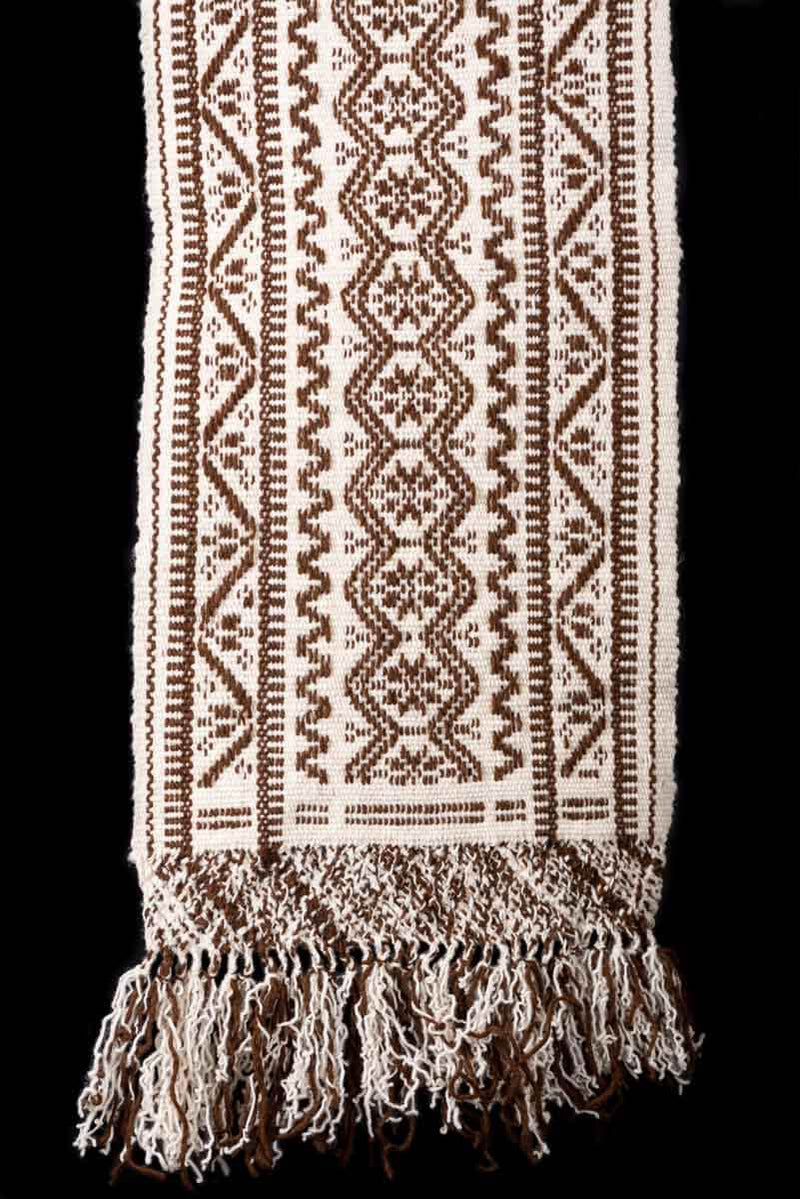 Mexican Purepecha Wool Indigenous Table Runner decorated with Stars and Geometric Pattterns  Hanging