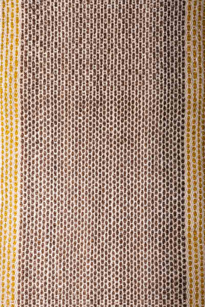 Wool Table Runner with brown diamonds & two yellow stripes on each side close up