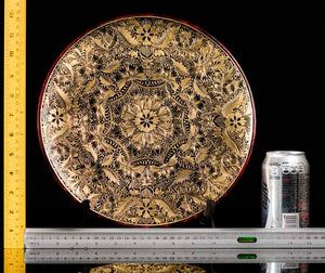 Rulers Gold Outlined Dish Lacquerware with geometric patterns. Folk Art from Patzcuaro.