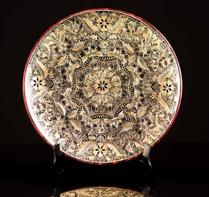 Gold Outlined Dish Lacquerware with geometric patterns. Folk Art from Patzcuaro.