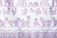 Nativity Scene Back Strap Loomed Dyed with Purple Snail Fine Indigenous Textile Bottom Pattern