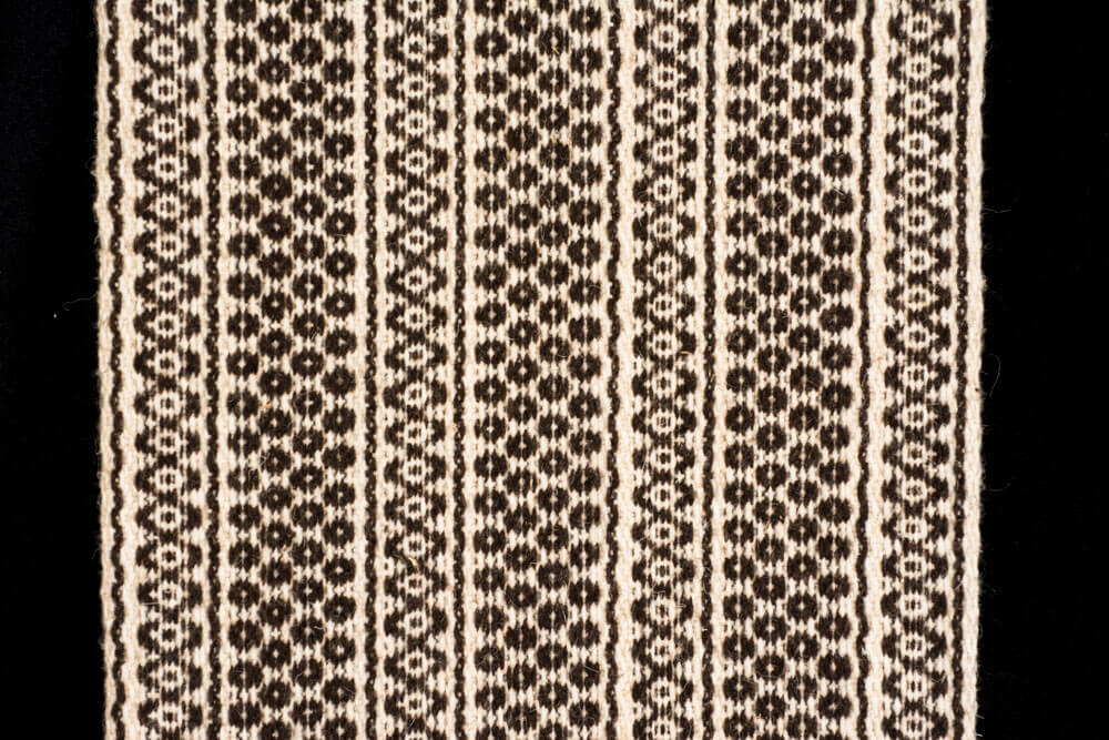 Wool Table Runner Dark Brown & Beige Mexican Indigenous Textile