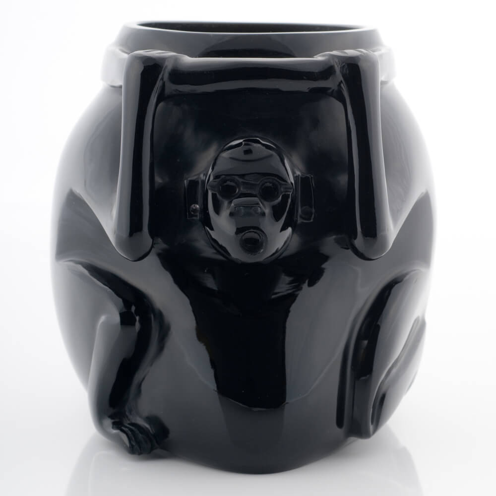 Obsidian Aztec Vase With Monkey Pre Hispanic Replica.