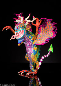 Paper mache alebrije with arrow tail signed by Negrete