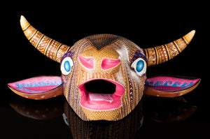 Cow Head Alebrije Painted Oaxaca Zapotec Symbols Wood Carving