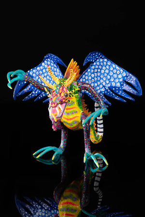 Paper Mache Alebrije Waving Mexican Dragon