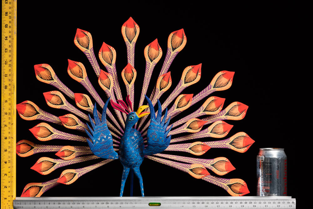 Peacock alebrije Oaxacan wood carving rulers size