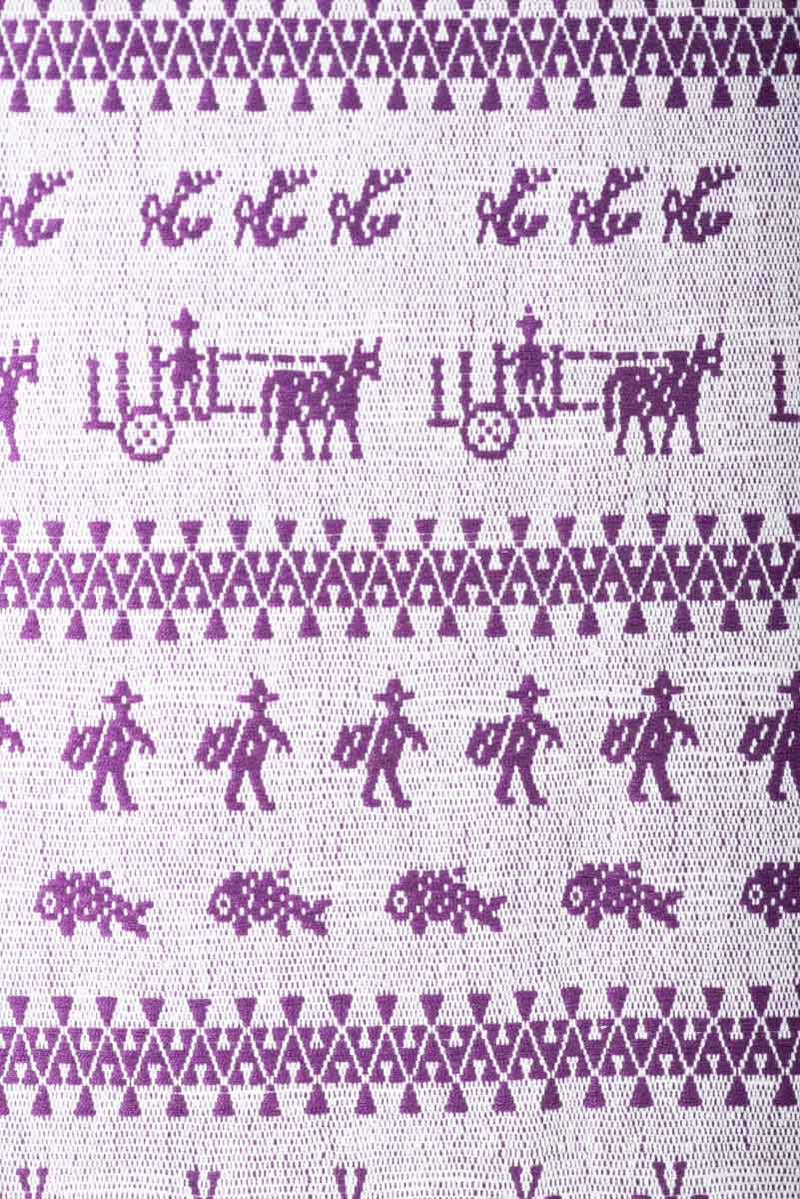 Purple Mexican Textile Runner From San Mateo del Mar with Traditional Oaxacan Patterns Icon Close Up