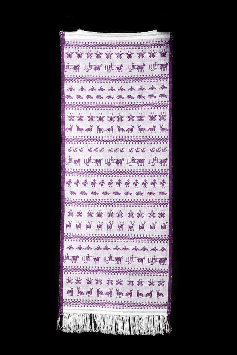 Purple Mexican Textile Runner From San Mateo del Mar with Traditional Oaxacan Patterns