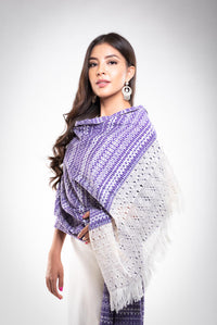 Woman Wearing The Award Winning Pruple & White Rebozo Mexican Shawl Back strap Loomed