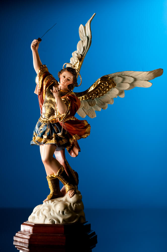 Wooden Figure of St. Michael Archangel with sword.l with sword