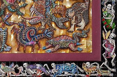 Alebrijes & Day of the Dead Skeleton Nacre Painting on Mother of Pearl