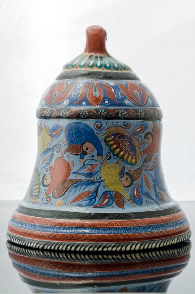 Tonala-Burnished-Clay-with-Angels-Blue-&-Red-Tones-Fine-Pottery-Folk-Art