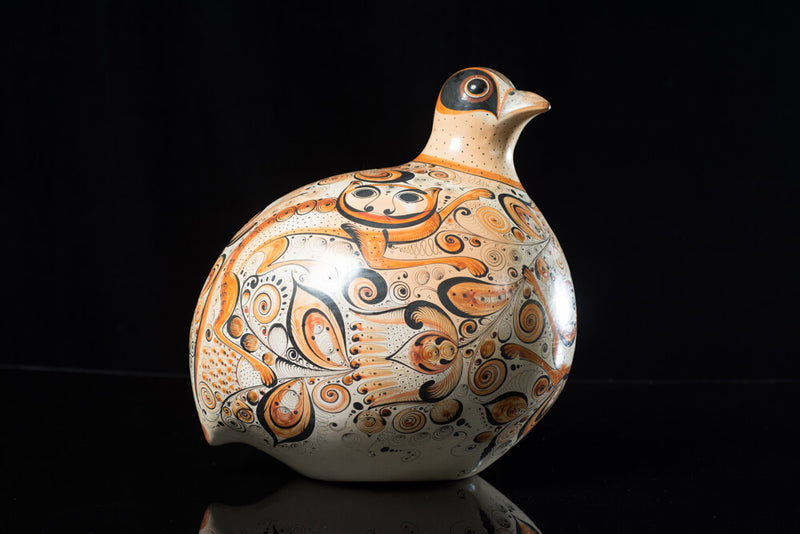 Burnished-Clay-Tonala-Dove-decorated-with-nahuales-&-Flowers-Fine-Mexican-Pottery-art-side 2