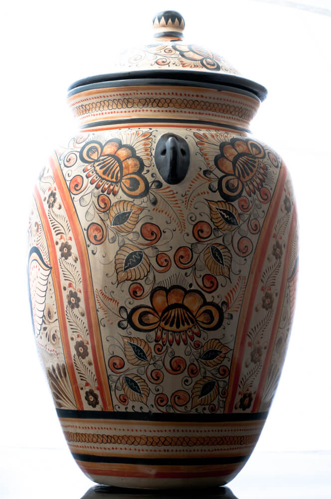 Tonala-Burnished-Clay-Vase-Tibor-Crwoned-Angels-Mexican-Pottery