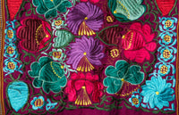 Indigenous Textile Mexican Embroidered Rabler Runner With flowers 4 ft