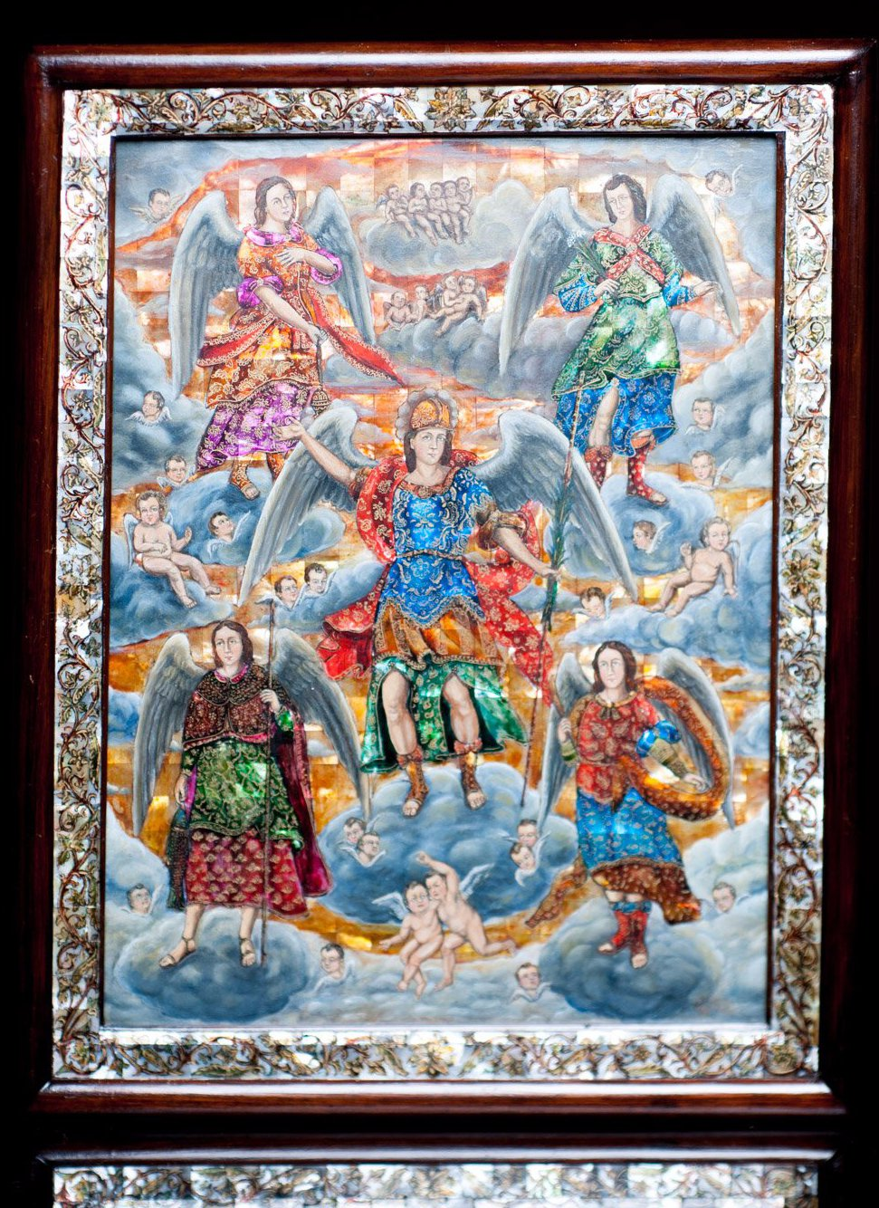 Archangels Painting Monter of Pearl Inlay Nacre Mexican Folk Art