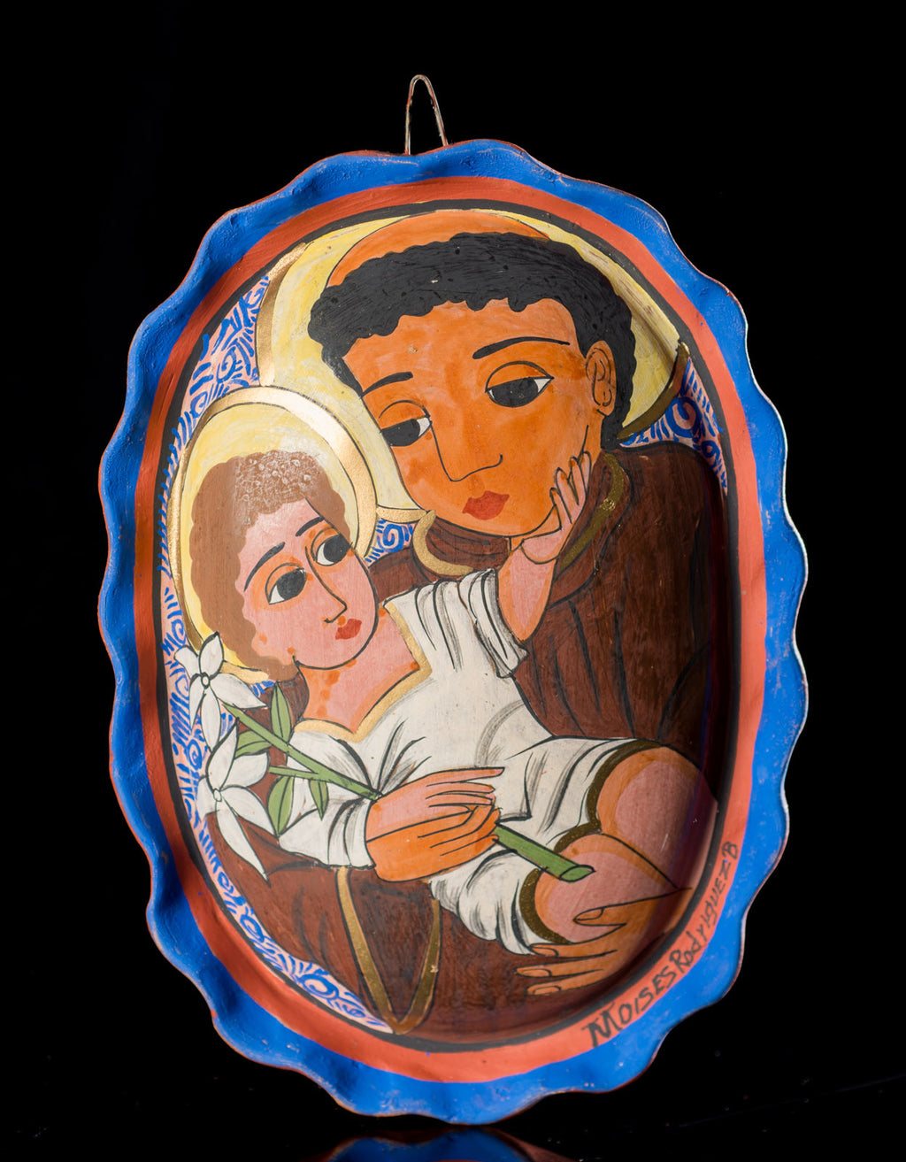 Mexican-Pottery-Medallion-St-Francis-Baby-Jesus-Burnished-Clay-Tonala