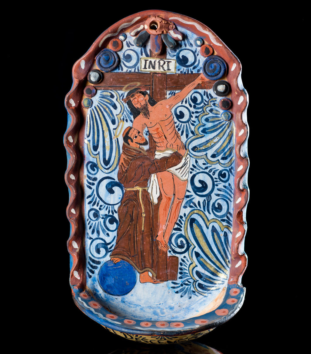 Tonala-Mexican-Pottery-St-Francis-Burnished-Clay-Holy-Water-Font