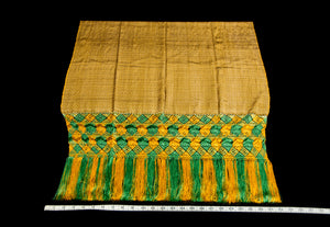 Gold, black and green rebozo shawl from Santa Maria del Rio Mexico