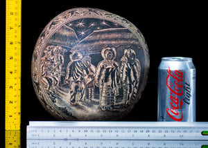 Etched gourd from Oaxaca Mexico