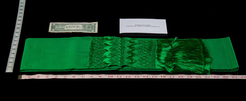Green rebozo shawl from Santa Maria Mexico silk texture