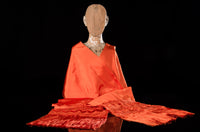 Orange rebozo shawl from Santa Maria Mexico silk texture