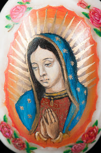 Painting of our lady virgin of Guadalupe on Alabaster stone Mexican folk Art
